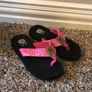 Pink sequin yellow box flip flop
